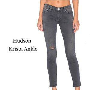 Hudson Ankle Krista Gray distressed jeans